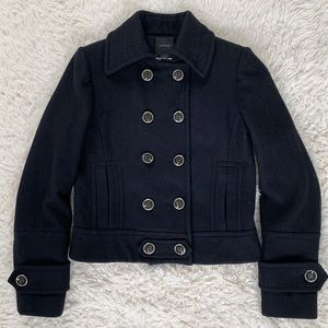 EXPRESS Black Wool Military Style Peacoat Jacket